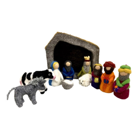 Papoose Toys® Handmade Nativity Set | 11 Pieces