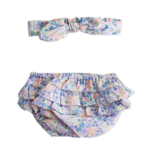 Alimrose Liberty Blue Ruffle Bloomers & Headband | 6-12 mths