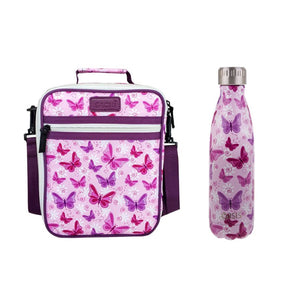 Insulated Lunch Tote & Drink Bottle Combo | Butterflies - Lexi & Me