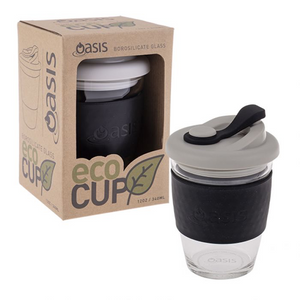 Oasis Borosilicate Glass Eco Cup 340ml | Black - Lexi & Me