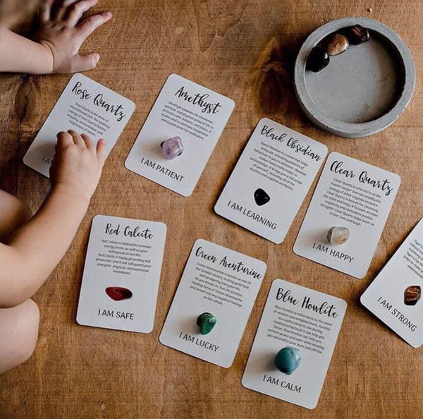 Growing Kind Crystal Affirmation Cards and Tumble Stones Set - Lexi & Me