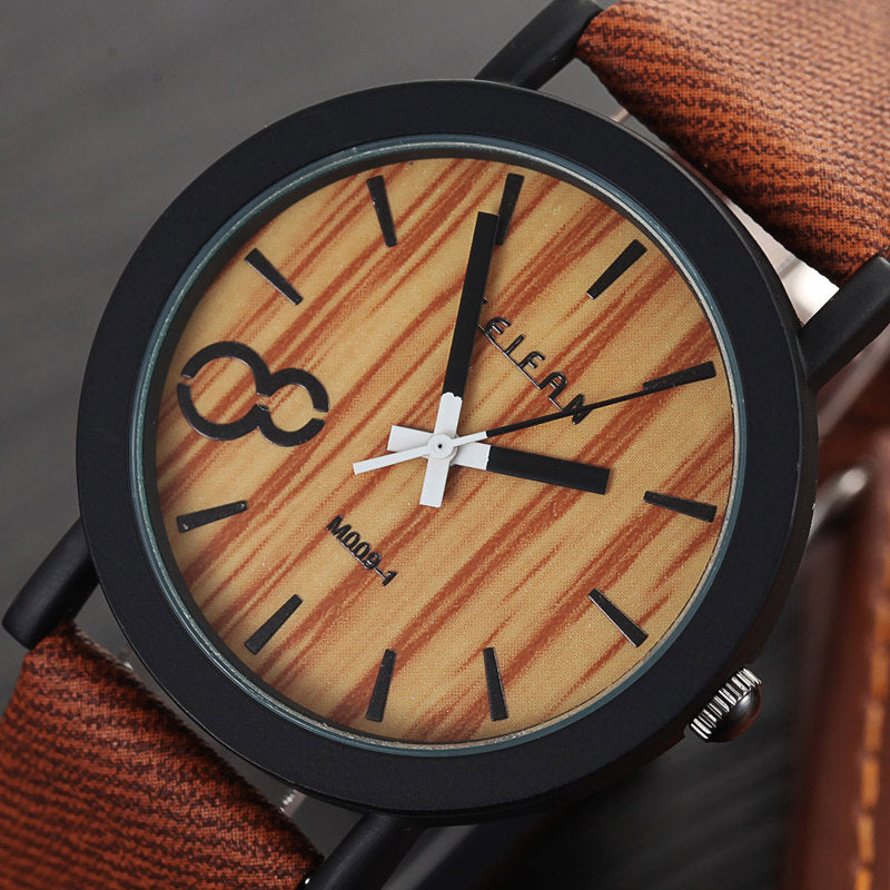 Wood Watch with Leather Strap