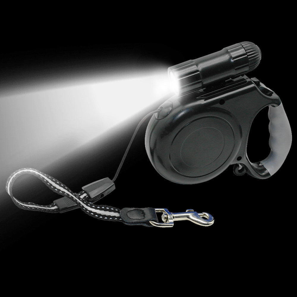 Retractable Dog Leash With Detachable LED Flashlight