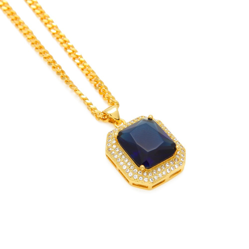 14K Gold Plated Iced Out Ruby Necklace