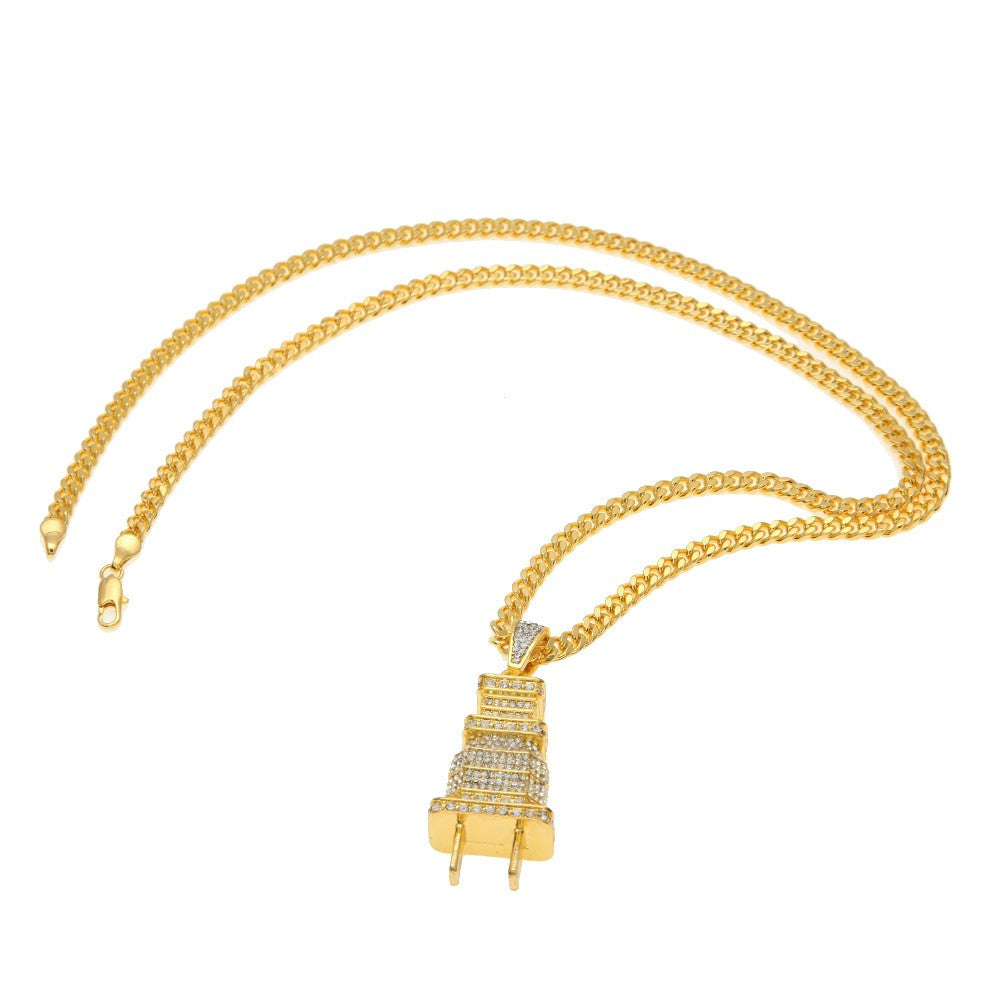 14K Gold Plated Iced Out Plug Necklace