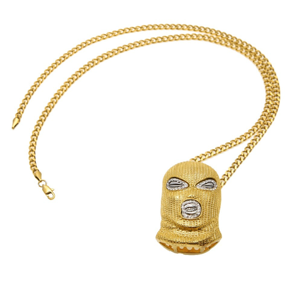 14K Gold Plated Iced Out Ski Mask Necklace