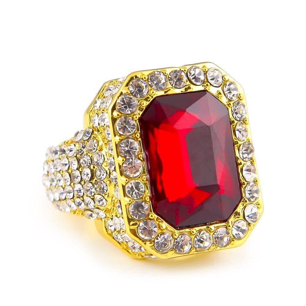 14K Gold Plated Iced Out Ruby Ring