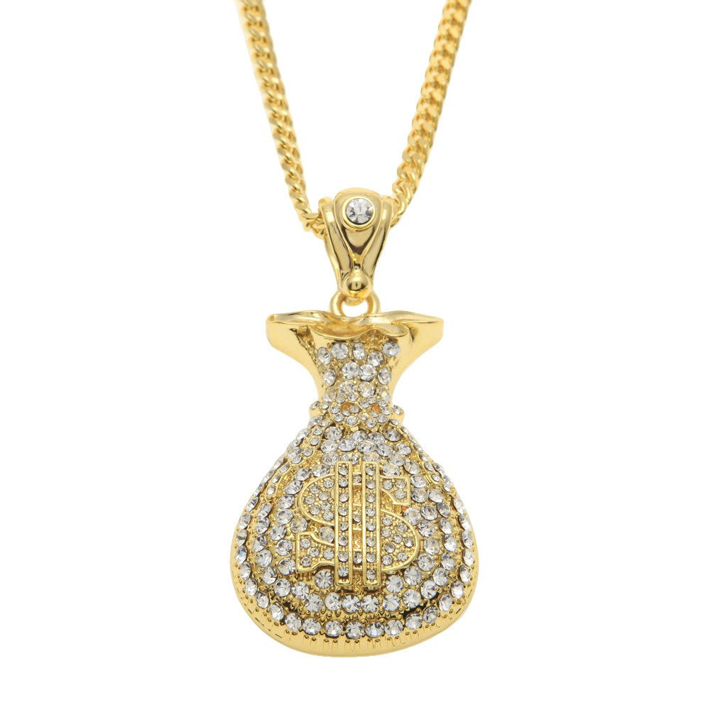 14K Gold Plated Iced Out Money Bag Necklace