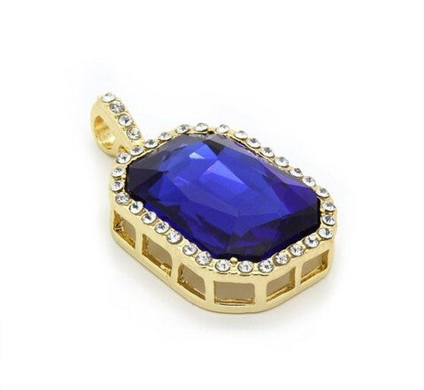 14K Gold Plated Iced Out Blue Ruby Necklace