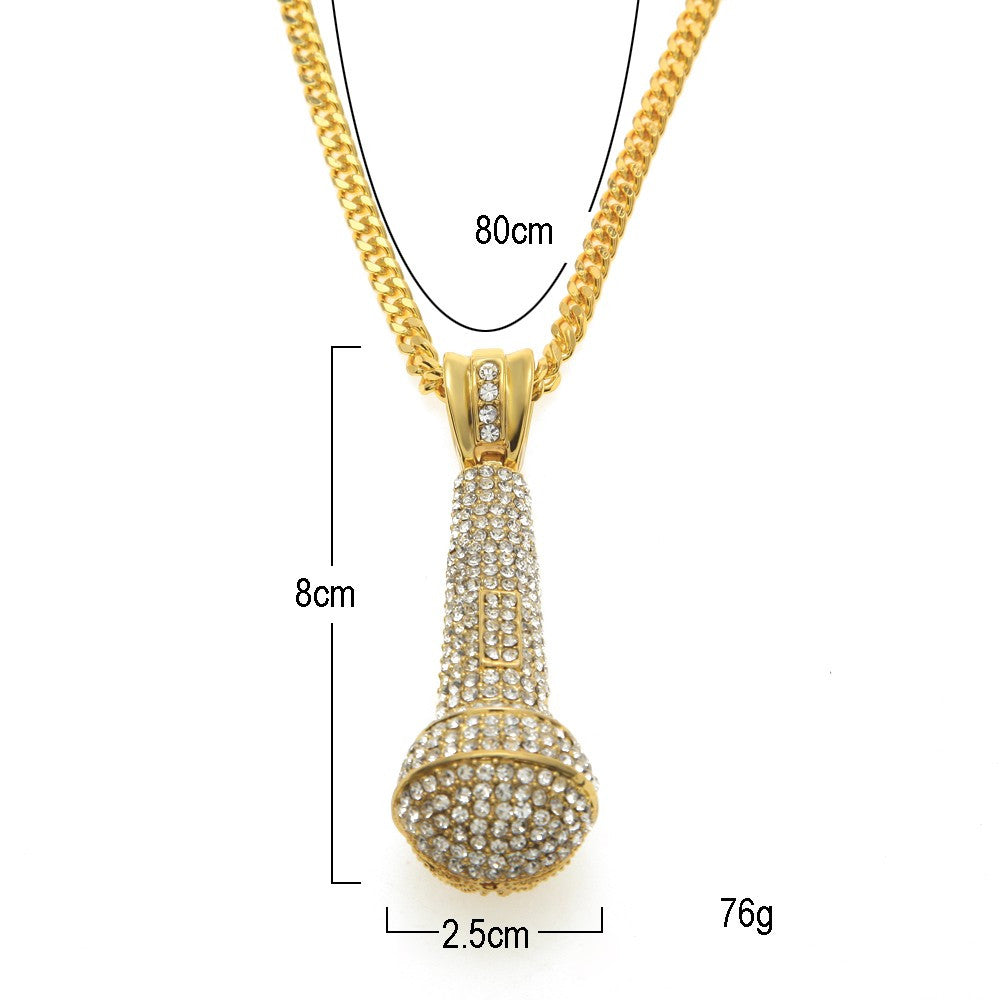 14K Gold Plated Iced Out Mic Necklace