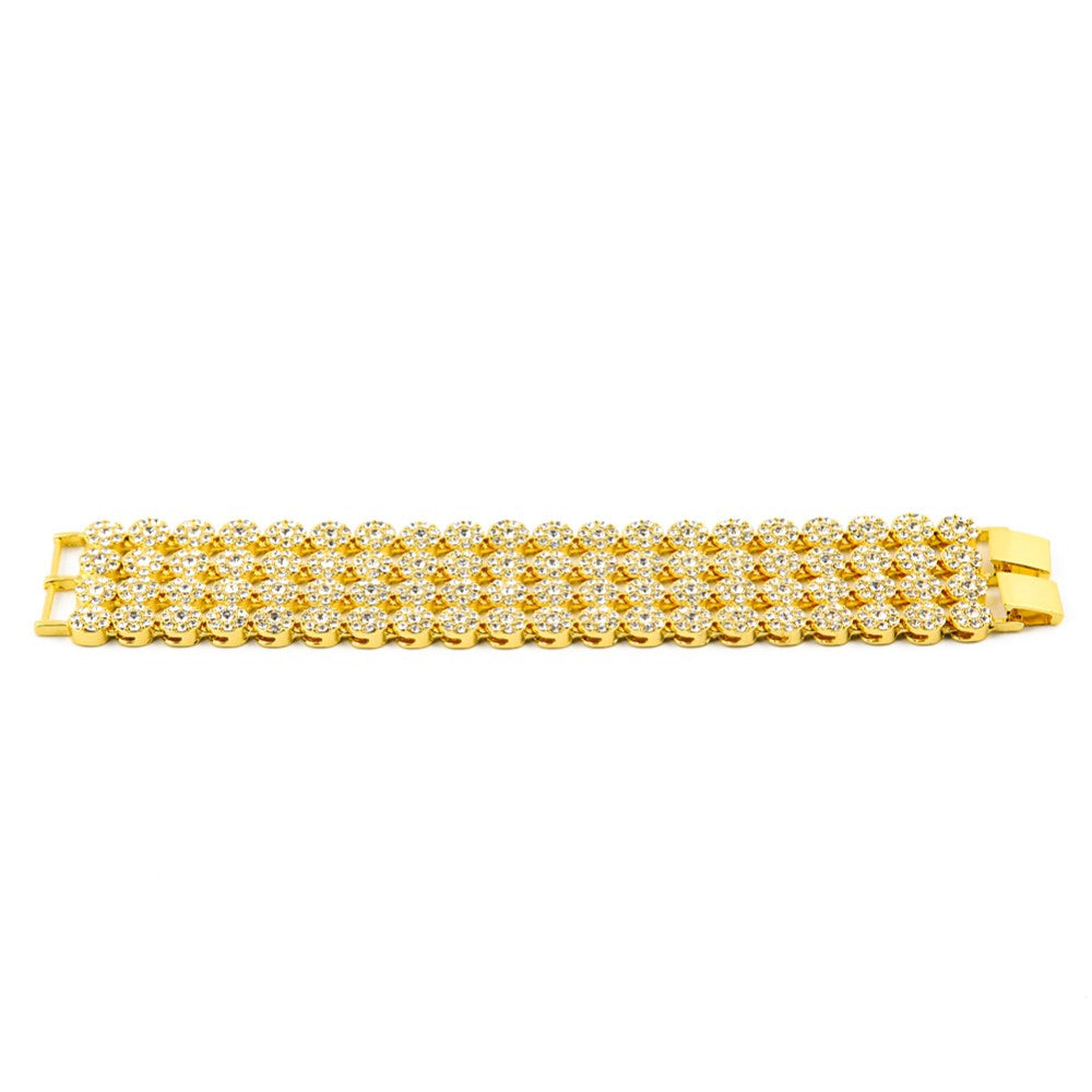 14K Gold Plated Iced Out 4 Row Bracelet