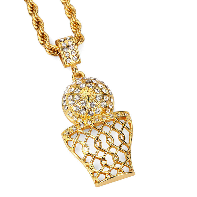 14K Gold Plated Iced Out Basketball Necklace