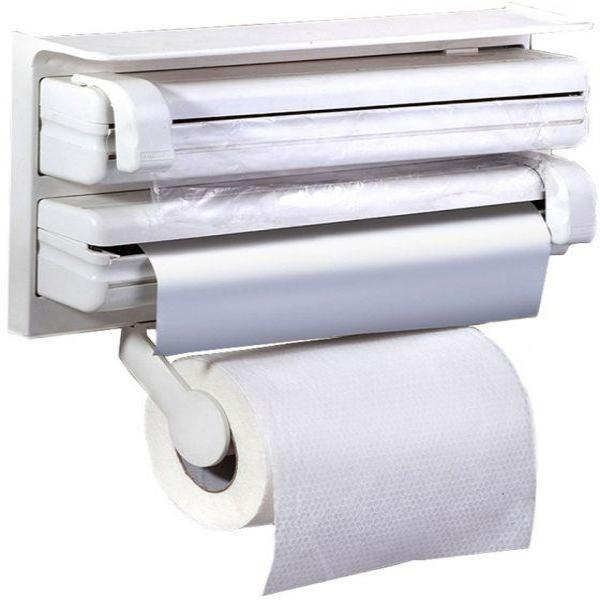 3 in 1 Kitchen Triple Paper Dispenser & Holder Paper/ Foil/ Cling Wrap