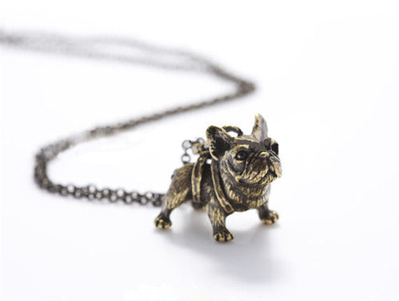 Chic Vintage Silver French Bulldog Necklace