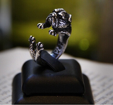 3D Retro English Bulldog Ring Men And Women Animal Wrap Adjustable Vintage Ring beautiful cute gift for girls