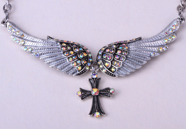 Crystal Angel Wings and Cross Women's Necklace, adjustable and antique silver plated (click on main picture to see a close up view of each one) Ships  in 2-10 days!