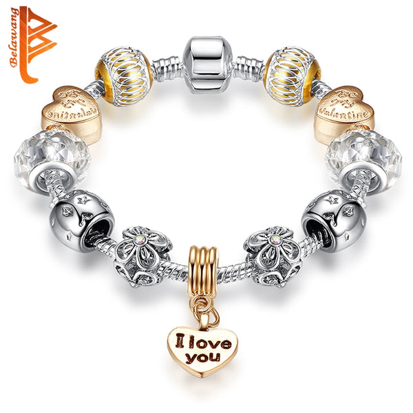 BELAWANG Authentic Heart Pendant Charm Bracelet with Murano Glass Beads Bracelets for Women Christmas Jewelry|Charm Bracelets|