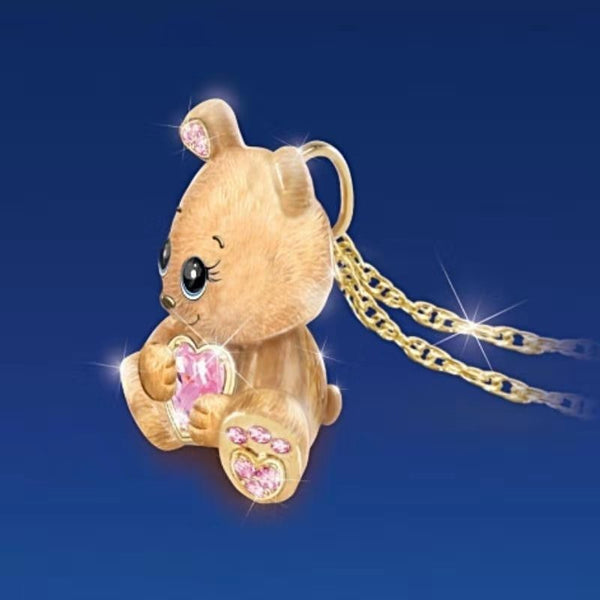 Cute Gold Teddy Bear with Crystal Zirconians Pendant Chain Necklace Jewelry