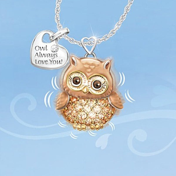 Berbeny Lovely Brown Owl Necklace Dripping Oil Crystal Rhinestone Heart Shaped Lettering Pendant Jewelry