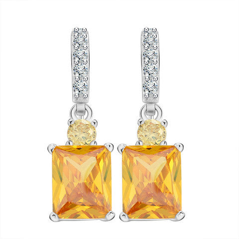 Big Emerald Cut Yellow Zircon Earring on Platinum Plated Beautiful Dangle Earring