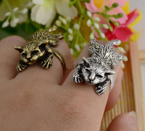 Punk Vintage 3D Lazy Cat Wrap Ring
