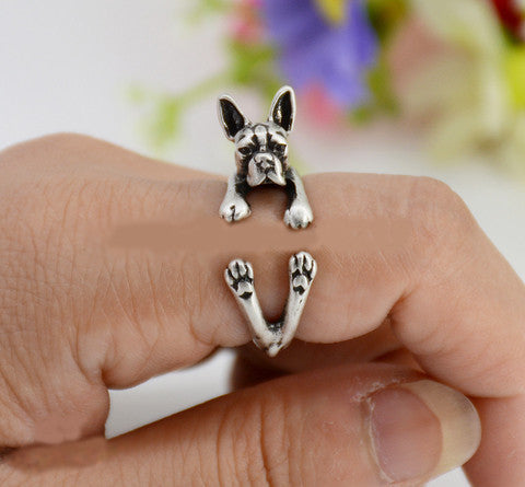 Punk Vintage 3D Boston Terrier Dog Animal Wrap Ring