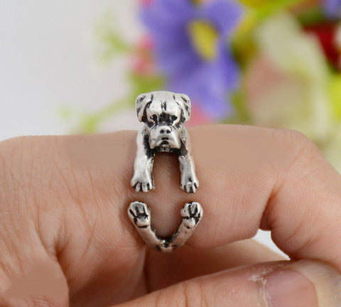 Punk Vintage 3D Boxer Dog Animal Wrap Ring