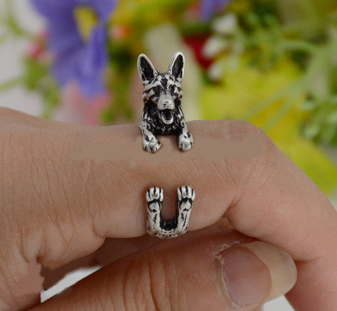 Punk Vintage 3D German Shepherd Dog Wrap Ring