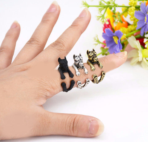 Punk Vintage 3D Pit Bull Dog Animal Wrap Ring