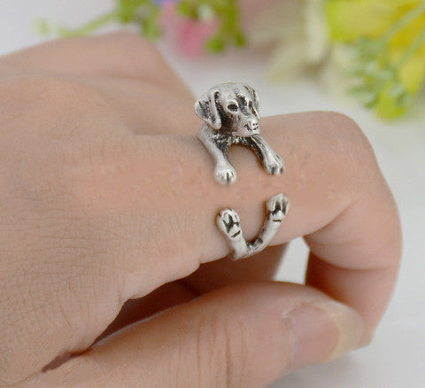 Punk Vintage 3D Labrador Retriever Puppy Animal Wrap Ring