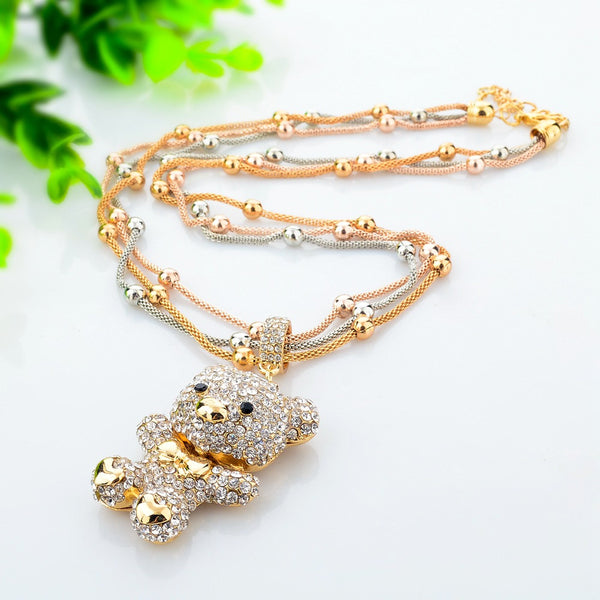 Fashion MultiLayer Necklace Crystal Bear Pendant Beads Long Necklace 86 (click on image to get closer view)