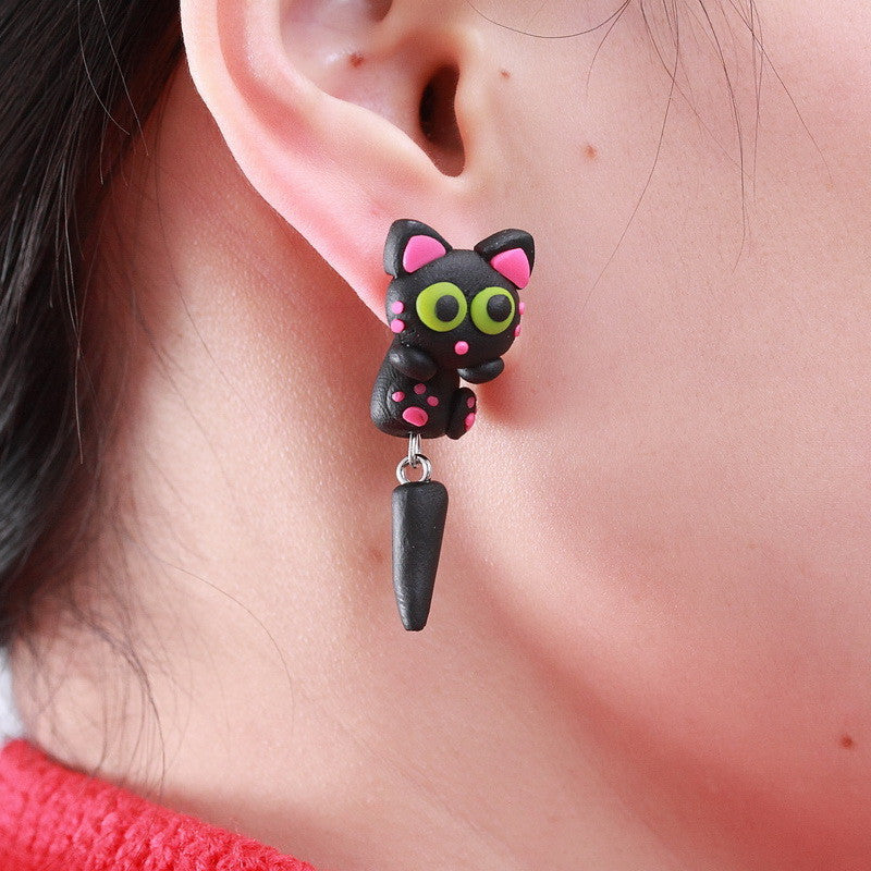 Cute Handmade Polymer Clay Lovely Black Long Tail Cat Animal Stud Earrings