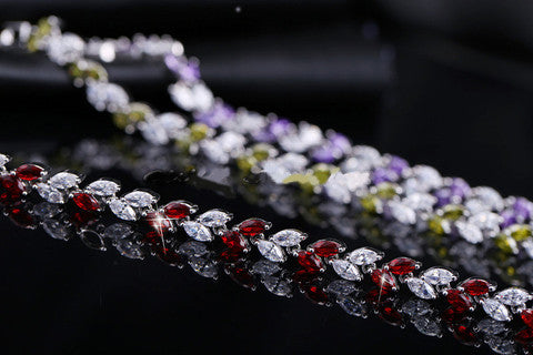 New Trendy Unique 18K Silver-Plated Leaf Charm AAA+ CZ Crystal Bracelet