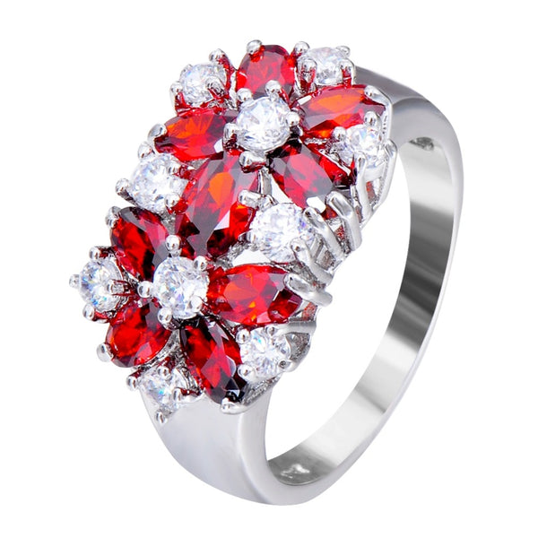 Sizes 6-10 Blue, Red, Pink, or Green Zircon White Gold Filled Ring For Women