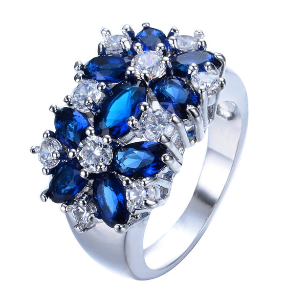 Size 6-10 Blue Sapphire Zircon White Gold Filled Ring
