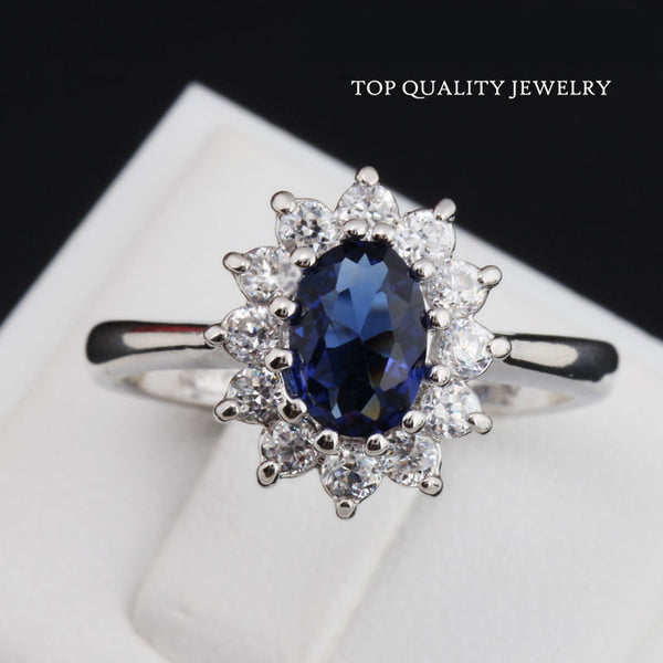Top Quality Princess Kate Blue Gem Sapphire 18K White Gold Plated Crystal Ring (red also available)