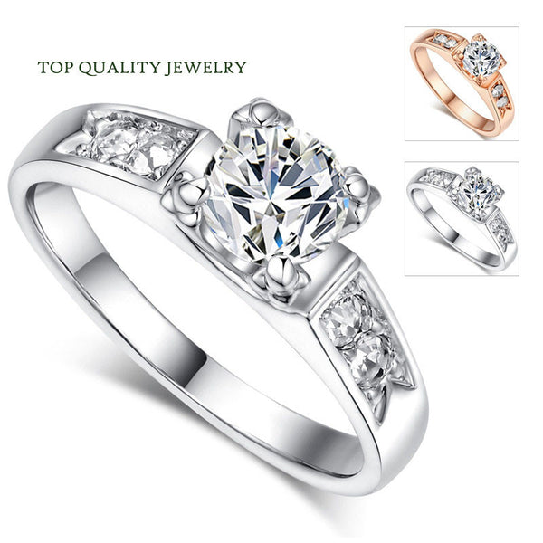 Top Quality CZ Diamond Classic Wedding Ring 18K Real Rose Gold or White Gold Plated Austrian Crystals