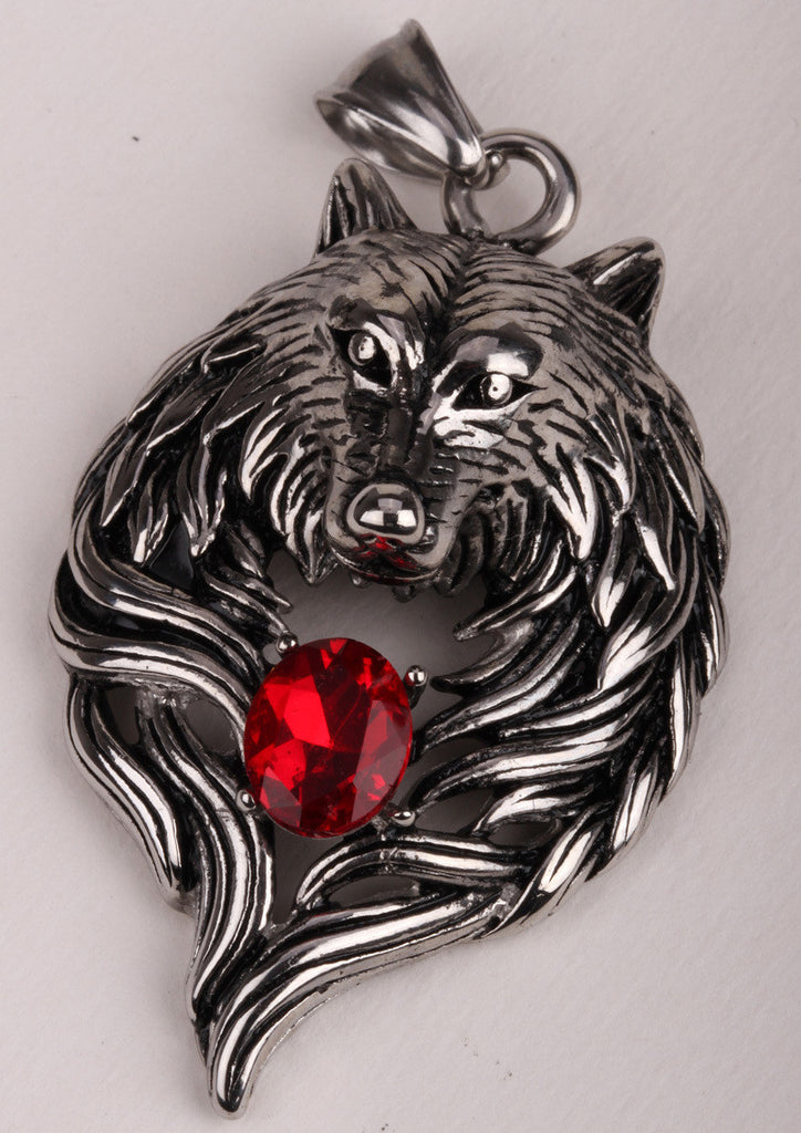 Wolf Stainless Steel Necklace Pendant W Chain Biker Heavy Jewelry Animal Charm