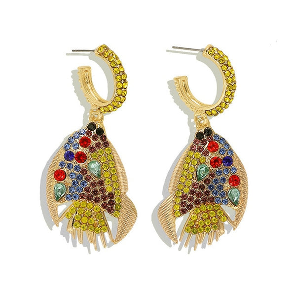 JShine Multi color Crystal Rhinestone Drop Earrings Metal Enamel Bee Parrot Fruit Dangle Statement Earring Women Fashion Jewelry