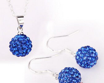 Hot New Jewelry Sets -  Crystal Pave Disco Ball Lever Back Earring & Pendant Necklace