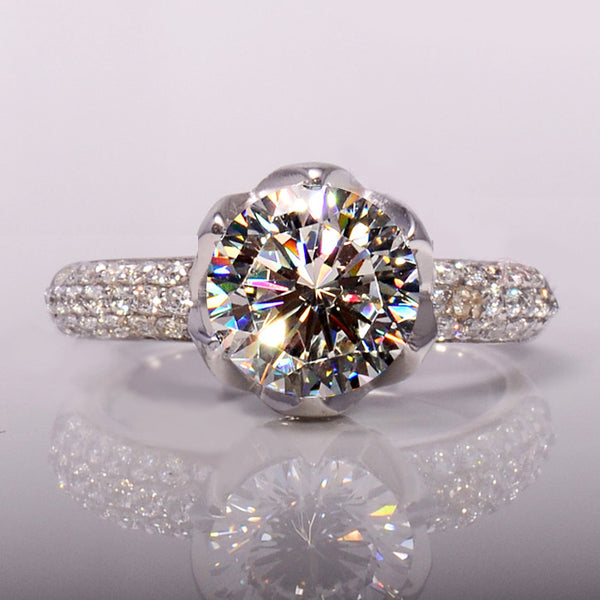 3 Carat Flower Shaped Simulated Diamond Ring,Solid 925 Silver