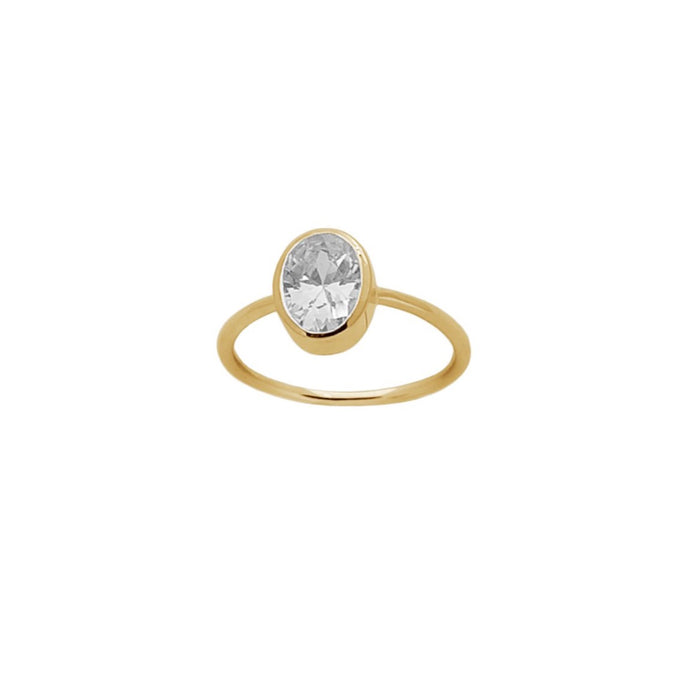 Taylor Crystal Ring in Gold - Corail Blanc
