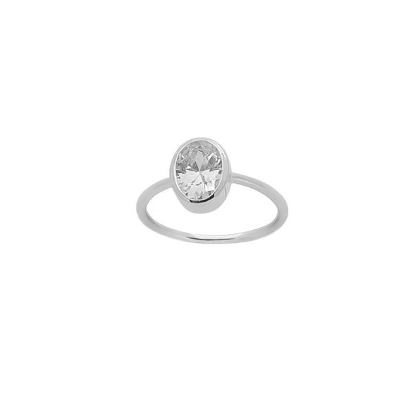 Taylor Crystal Ring in Silver - Corail Blanc