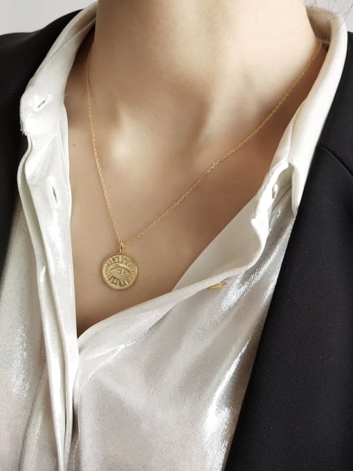 Coin Evil Eye Necklace in Gold - Corail Blanc