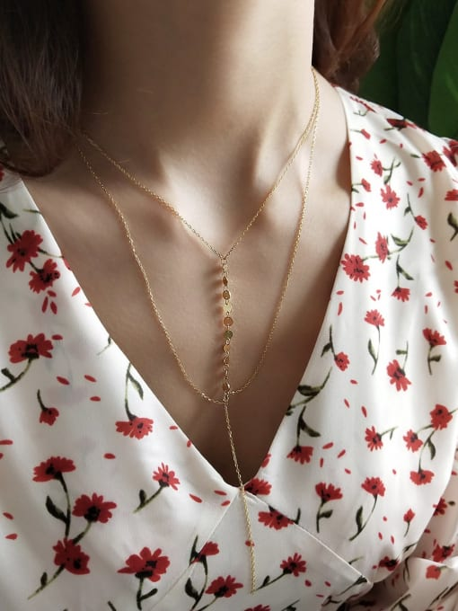 Double Lariat Necklace - Corail Blanc