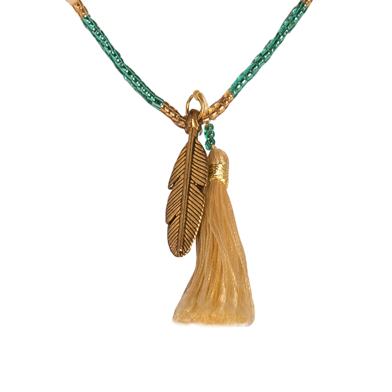 Canggu Necklace in Green - Corail Blanc
