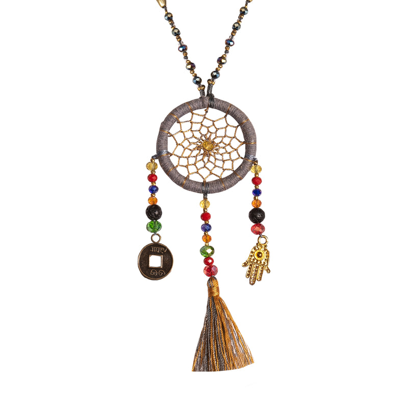 Bali Dreamcatcher Necklace in Grey - Corail Blanc