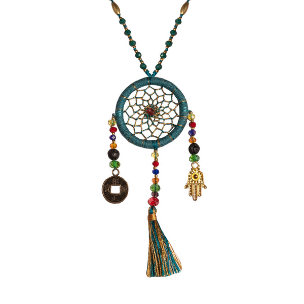 Bali Dreamcatcher Necklace in Turquoise - Corail Blanc