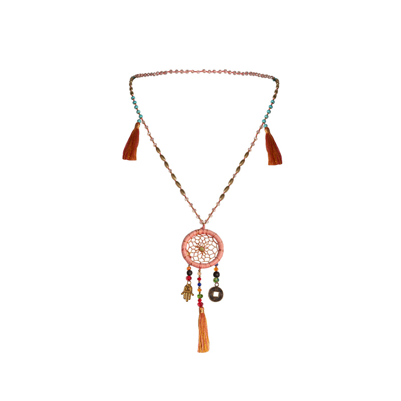 Bali Dreamcatcher Necklace in Pink - Corail Blanc