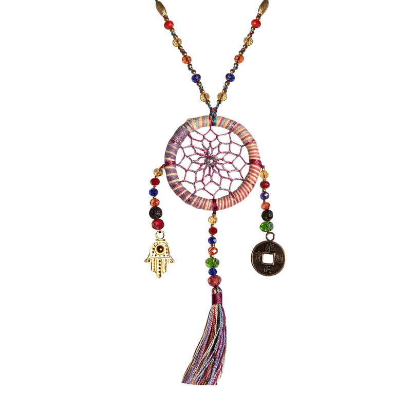 Bali Dreamcatcher Necklace in Purple - Corail Blanc
